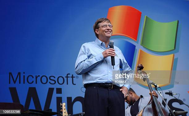 Bill Gates during Sting gives free concert in Bryant Park as part of Microsoft's release of Windows XP at Bryant Park in New York City New York...