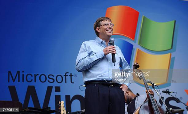 Bill Gates during Sting gives free concert in Bryant Park as part of Microsoft's release of Windows XP at the Bryant Park in New York City New York