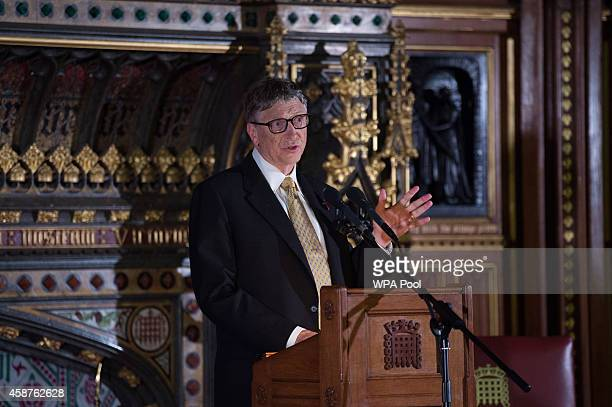 Bill Gates gives a lecture on international aid to parliamentarians and guests in the Robing Room of the House of Lords in the Palace of Westminster...