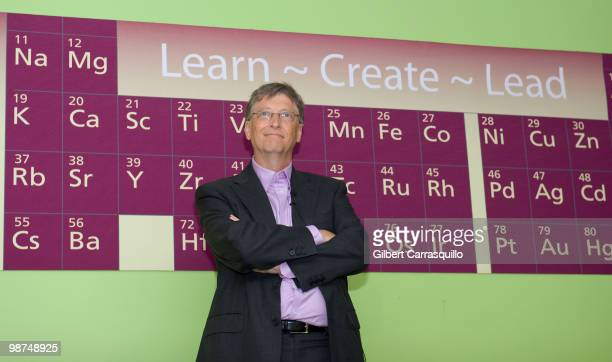 Bill Gates holds a QA session with students at the Science Leadership Academy prior to the 2010 Franklin Institute Awards held at The Franklin...