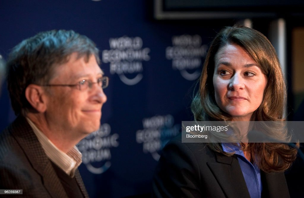 Bill Gates left and Melinda French Gates cochairmen of the Bill Melinda Gates Foundation hold a press conference on day three of the 2010 World...