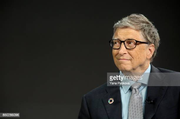 Bill Gates listens to former US President Barack Obama answer questions at the Gates Foundation Inaugural Goalkeepers event on September 20 2017 in...