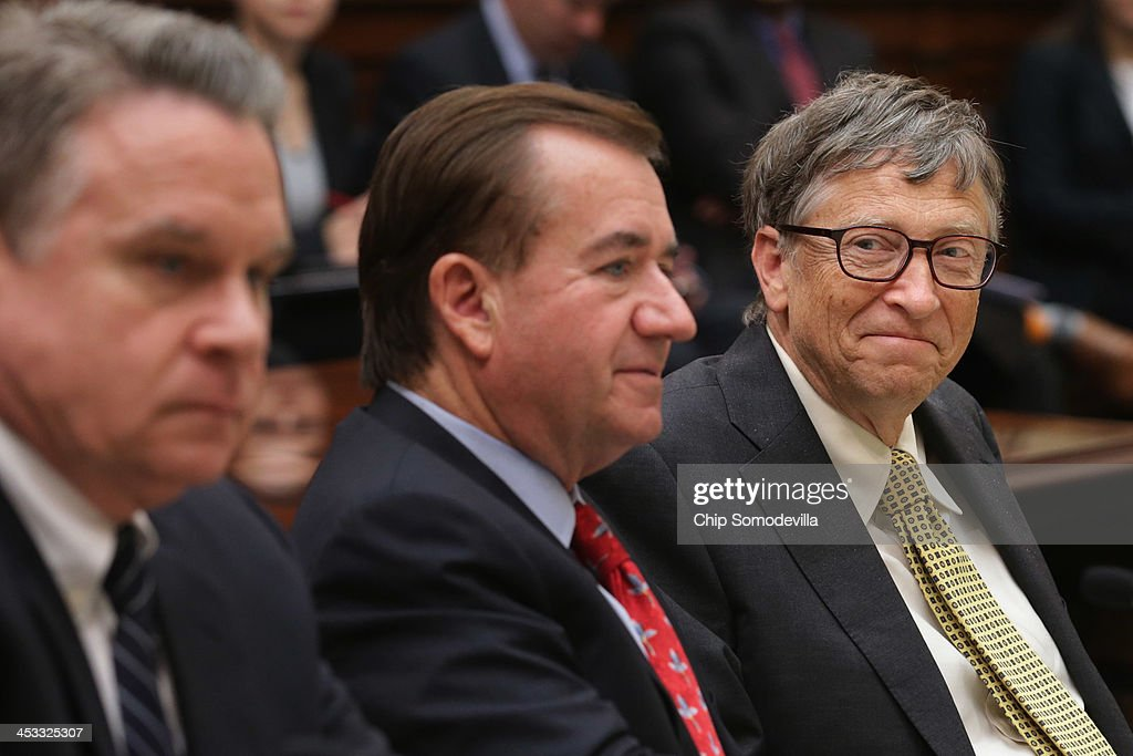 <a gi-track='captionPersonalityLinkClicked' href=/galleries/search?phrase=Bill+Gates&family=editorial&specificpeople=202049 ng-click='$event.stopPropagation()'>Bill Gates</a> (R), Microsoft Chairman and co-chair of the Bill and Melinda Gates Foundation, poses for photographs with House Foreign Affairs Committee Chairman Ed Royce (R-CA) (C) and committee members Rep. Christopher Smith (R-NJ) before a meeting in the Rayburn House Office Building on Capitol Hill December 3, 2013 in Washington, DC. The world's richest person valued at about $77.7 billion, Gates