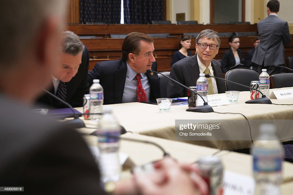 <a gi-track='captionPersonalityLinkClicked' href=/galleries/search?phrase=Bill+Gates&family=editorial&specificpeople=202049 ng-click='$event.stopPropagation()'>Bill Gates</a> (R), Microsoft Chairman and co-chair of the Bill and Melinda Gates Foundation, sits down with House Foreign Affairs Committee Chairman Ed Royce (R-CA) (C) and committee member Rep. Christopher Smith (R-NJ) and others before a meeting in the Rayburn House Office Building on Capitol Hill December 3, 2013 in Washington, DC. The world's richest person valued at about $77.7 billion, Gates was meeting with the committee to discuss the work of the foundation around the world.
