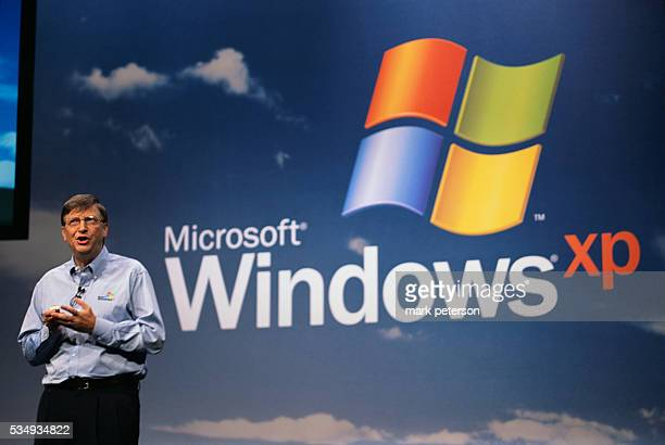 Bill Gates Microsoft's Chairman and Chief Software Architect speaks during a presentation for the Windows XP launch