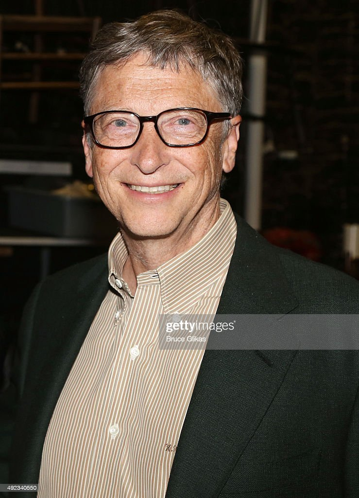 <a gi-track='captionPersonalityLinkClicked' href=/galleries/search?phrase=Bill+Gates&family=editorial&specificpeople=202049 ng-click='$event.stopPropagation()'>Bill Gates</a> poses backstage at the hit musical 'Hamilton' on Broadway at The Richard Rogers Theater on October 11, 2015 in New York City.