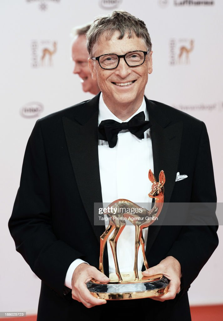 <a gi-track='captionPersonalityLinkClicked' href=/galleries/search?phrase=Bill+Gates&family=editorial&specificpeople=202049 ng-click='$event.stopPropagation()'>Bill Gates</a> poses with the Millenium Bambi at the Bambi Awards at Stage Theater on November 14, 2013 in Berlin, Germany.