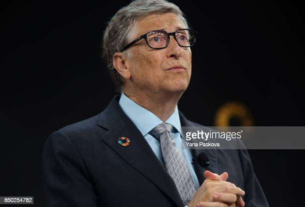 Bill Gates speaks ahead of former US President Barack Obama at the Gates Foundation Inaugural Goalkeepers event on September 20 2017 in New York City