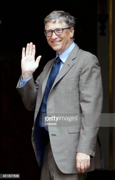 Bill Gates the coFounder of the Microsoft company and coFounder of the Bill and Melinda Gates Foundation arrives for a meeting with French Prime...