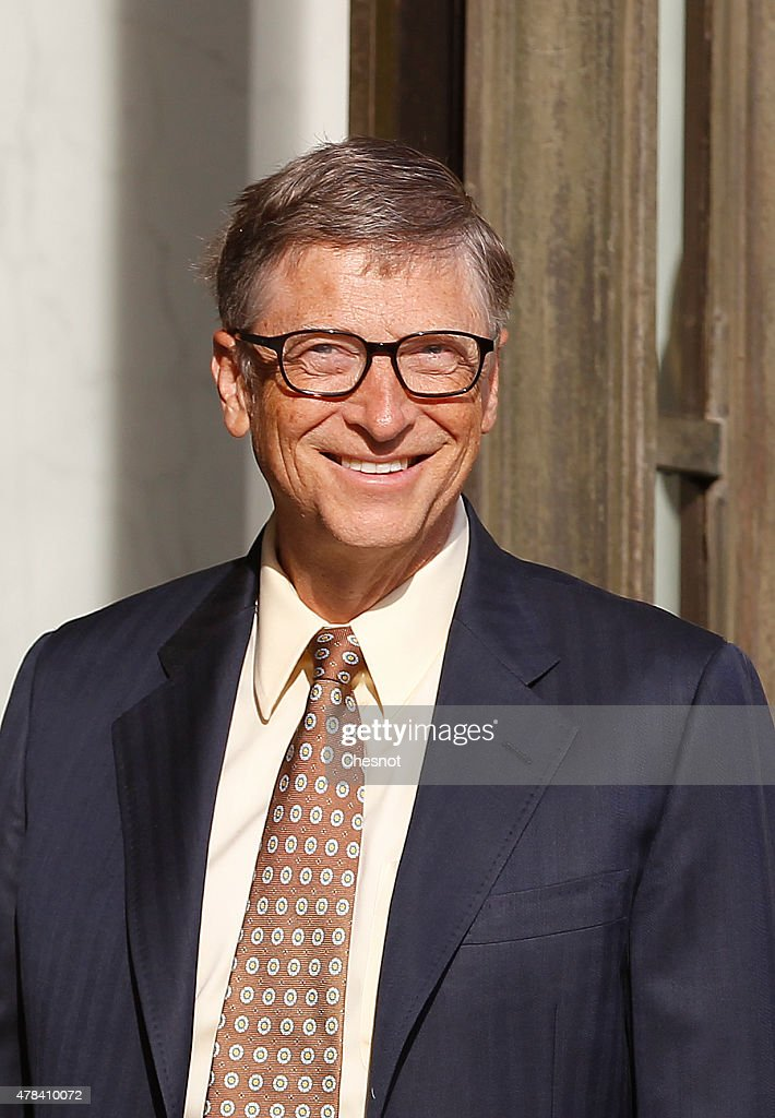 <a gi-track='captionPersonalityLinkClicked' href=/galleries/search?phrase=Bill+Gates&family=editorial&specificpeople=202049 ng-click='$event.stopPropagation()'>Bill Gates</a>, the co-Founder of the Microsoft company and co-Founder of the Bill and Melinda Gates Foundation arrives at the Elysee Palace for a meeting with French President Francois Hollande on June 25, 2015, in Paris, France. <a gi-track='captionPersonalityLinkClicked' href=/galleries/search?phrase=Bill+Gates&family=editorial&specificpeople=202049 ng-click='$event.stopPropagation()'>Bill Gates</a> will open the annual Paris Solidays, a three day music festival, to fight AIDS.