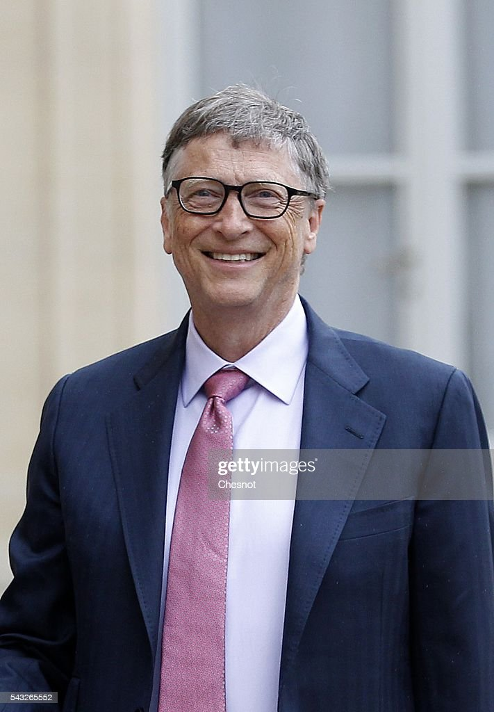 <a gi-track='captionPersonalityLinkClicked' href=/galleries/search?phrase=Bill+Gates&family=editorial&specificpeople=202049 ng-click='$event.stopPropagation()'>Bill Gates</a>, the co-Founder of the Microsoft company and co-Founder of the Bill and Melinda Gates Foundation makes a statement after his meeting with French President Francois Hollande at the Elysee Presidential Palace on June 27, 2016 in Paris, France. <a gi-track='captionPersonalityLinkClicked' href=/galleries/search?phrase=Bill+Gates&family=editorial&specificpeople=202049 ng-click='$event.stopPropagation()'>Bill Gates</a> mentioned in a short statement after his meeting with French President Francois Hollande that France was a great asset in the fight against AIDS.