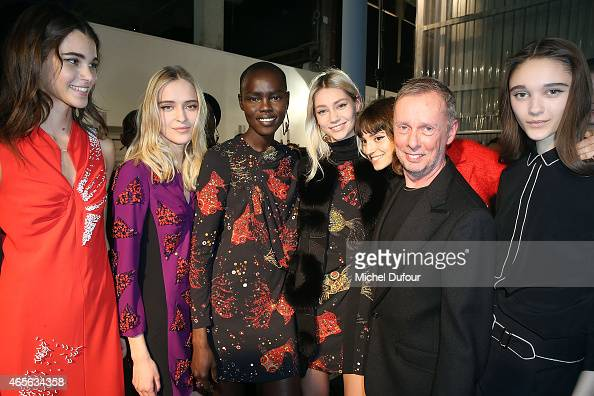 Bill Gaytten and Models pose after the John Galliano show as part of the Paris Fashion Week Womenswear Fall/Winter 2015/2016 on March 8 2015 in Paris...