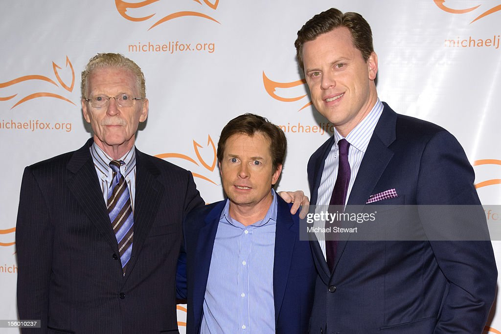 Bill Geist, <a gi-track='captionPersonalityLinkClicked' href=/galleries/search?phrase=Michael+J.+Fox&family=editorial&specificpeople=208846 ng-click='$event.stopPropagation()'>Michael J. Fox</a> and Willie Geist attend the 2012 A Funny Thing Happened On The Way To Cure Parkinson's at The Waldorf=Astoria on November 10, 2012 in New York City.