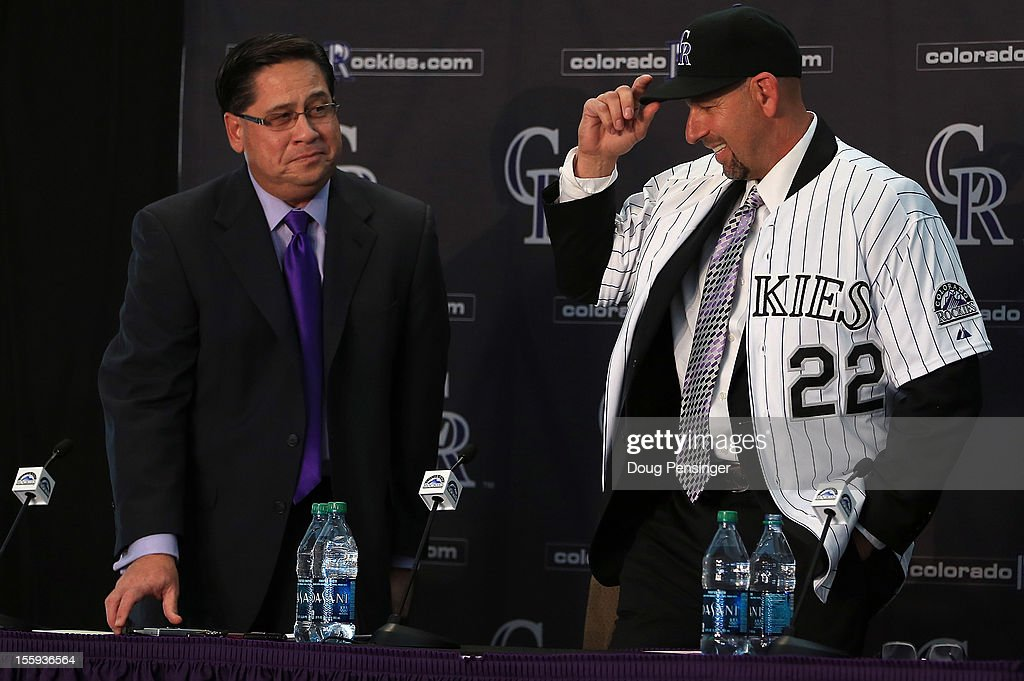 Bill Geivett Senior Vice President of Scouting and Player Developement/Assistnat General Manager of the Colorado Rockies presents Walt Weiss as manager of the Rockies during a press conference at Coors Field on November 9, 2012 in Denver, Colorado.
