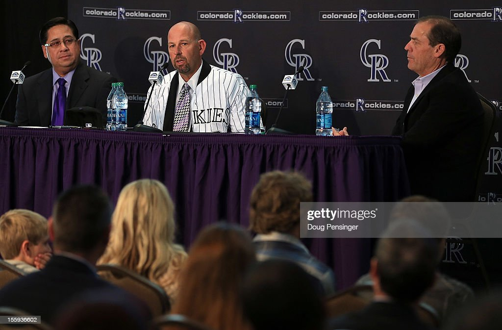 Bill Geivett Senior Vice President of Scouting and Player Developement/Assistnat General Manager of the Colorado Rockies presents Walt Weiss as manager of the Rockies along with Dick Monfort Owner/Chairman and CEO of the Rockies during a press conference at Coors Field on November 9, 2012 in Denver, Colorado.