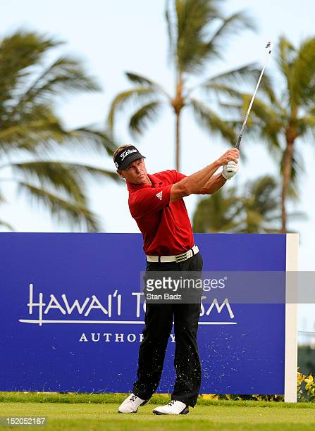 Bill Glasson hits a drive on the 14th hole during the second round of the Pacific Links Hawaii Championship at Kapolei Golf Course on September 15...
