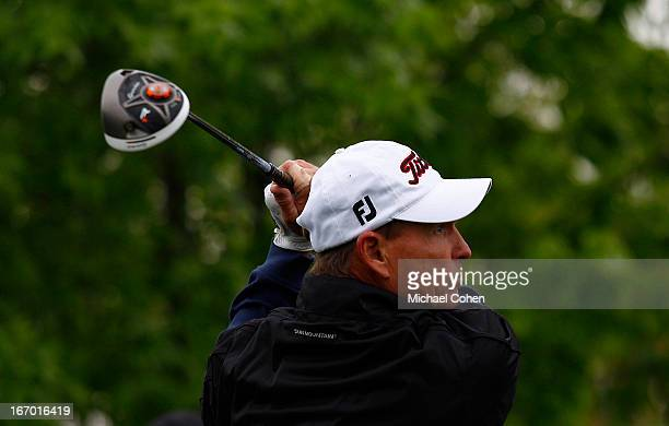 Bill Glasson hits his drive on the 12th hole during the first round of the Greater Gwinnett Championship held at TPC Sugarloaf on April 19 2013 in...