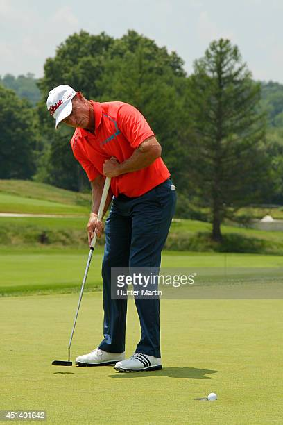 Bill Glasson makes his par putt on the sixth hole during the third round of the Constellation Senior Players Championship at Fox Chapel Golf Club on...