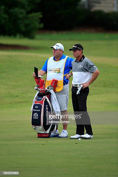 Bill Glasson stands by his golf bag during the final round of the SAS Championship held at Prestonwood Country Club on October 13 2013 in Cary North...