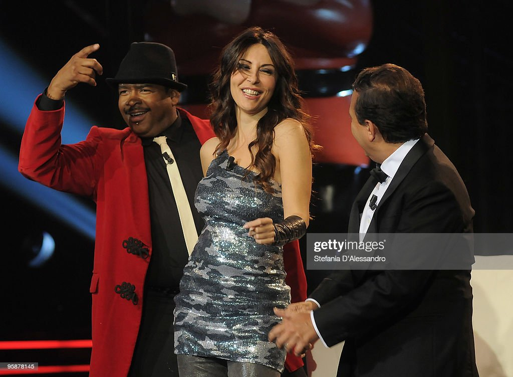 Bill Goodson, Sabrina Ferilli and Piero Chiambretti attend 'Chiambretti Night' Italian TV Show on January 19, 2010 in Milan, Italy.