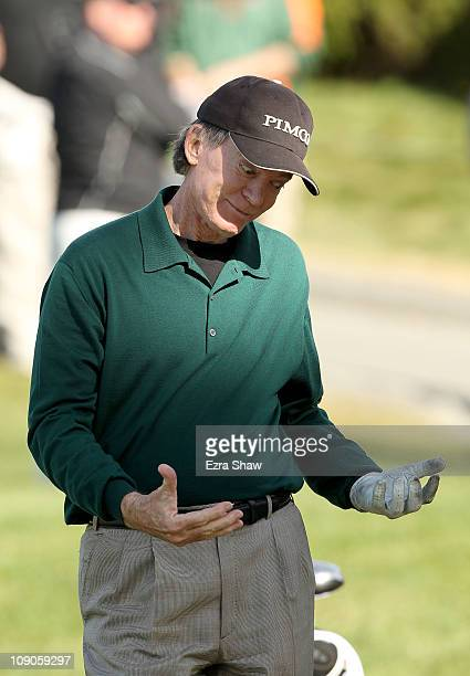 Bill Gross reacts after chipping in for birdie on the 5th hole during the final round of the ATT Pebble Beach National ProAm at the Pebble Beach Golf...