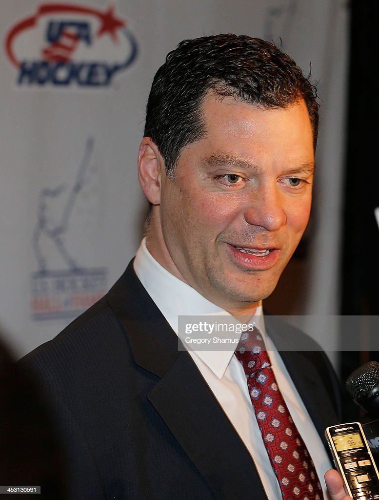 Bill Guerin 18 year NHL veteran and Stanley Cup champion in 1995 and 2009 talks to the media at a meet and greet prior to his USA Hockey Hall of Fame...