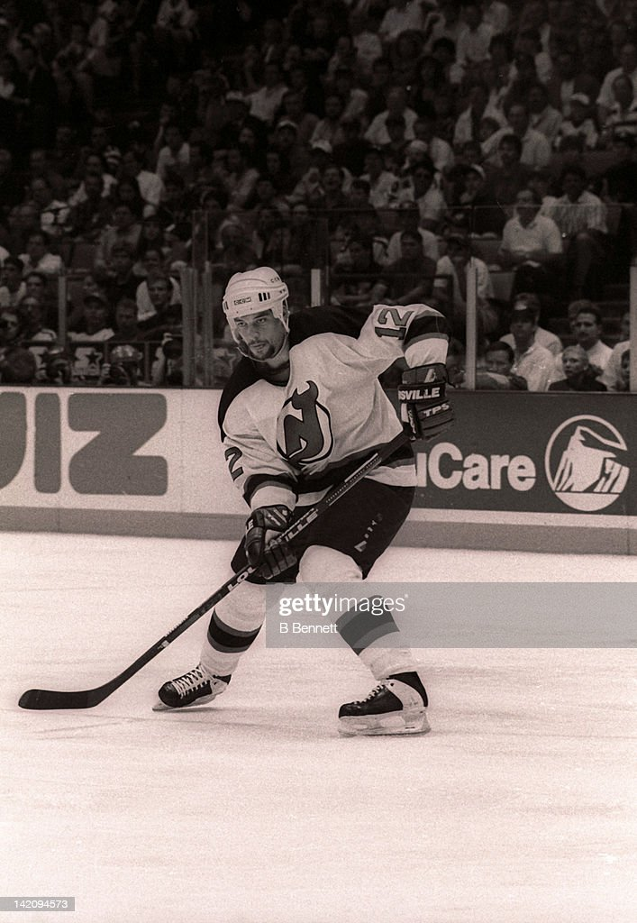 Bill Guerin of the New Jersey Devils skates on the ice during Game 6 of the Eastern Conference Finals against the New York Rangers on May 25 1994 at...