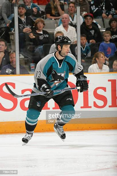 Bill Guerin of the San Jose Sharks skates during a game against the Edmonton Oilers on March 11 2007 at the HP Pavilion in San Jose California The...