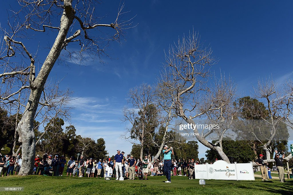 Bill Haas hits a tee shot on the 15th hole during the third round of the Northern Trust Open at the Riviera Country Club on February 16, 2013 in Pacific Palisades, California.
