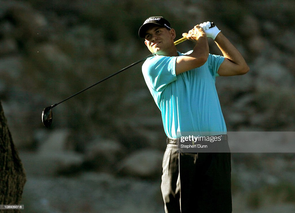 Bill Haas hits his tee shot on the 14th hole during the final round of the Bob Hope Classic on the Palmer Private Course at PGA West on January 23, 2011 in La Quinta, California.