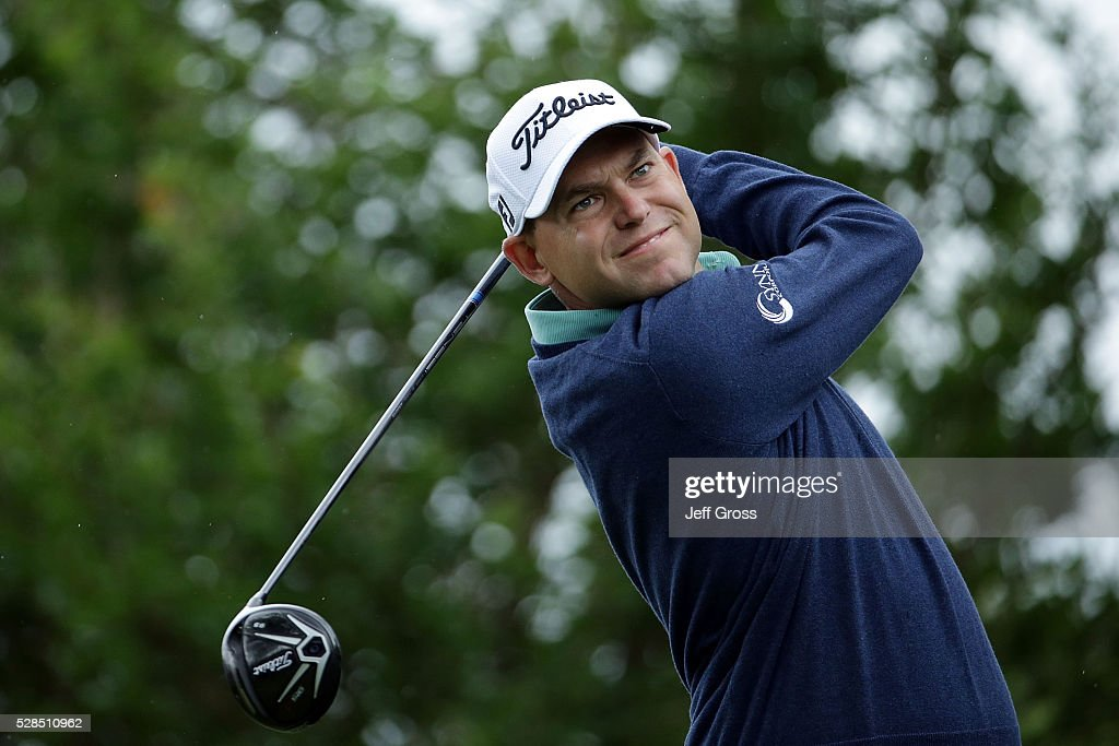 Bill Haas hits his tee shot on the third hole during the first round of the Wells Fargo Championship at Quail Hollow on May 5, 2016 in Charlotte, North Carolina.