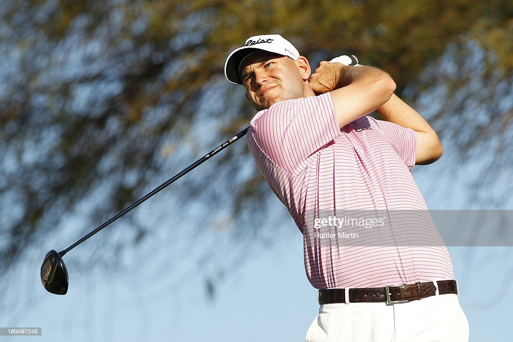 Bill Haas hits his tee shot on the third hole during the second round of the Waste Management Phoenix Open at TPC Scottsdale on February 1, 2013 in Scottsdale, Arizona.
