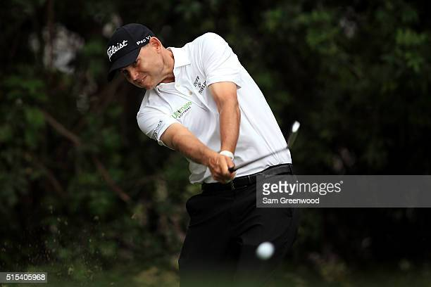Bill Haas hits off the third tee during the final round of the Valspar Championship at Innisbrook Resort Copperhead Course on March 13 2016 in Palm...