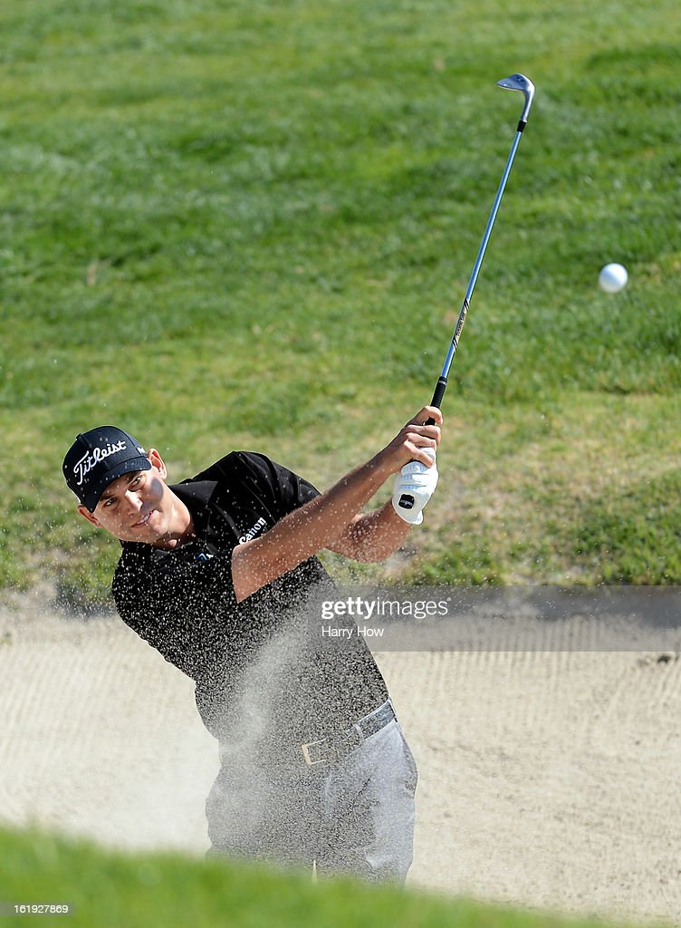 Bill Haas hits out of the bunker on the second hole during the final round of the Northern Trust Open at the Riviera Country Club on February 17, 2013 in Pacific Palisades, California.