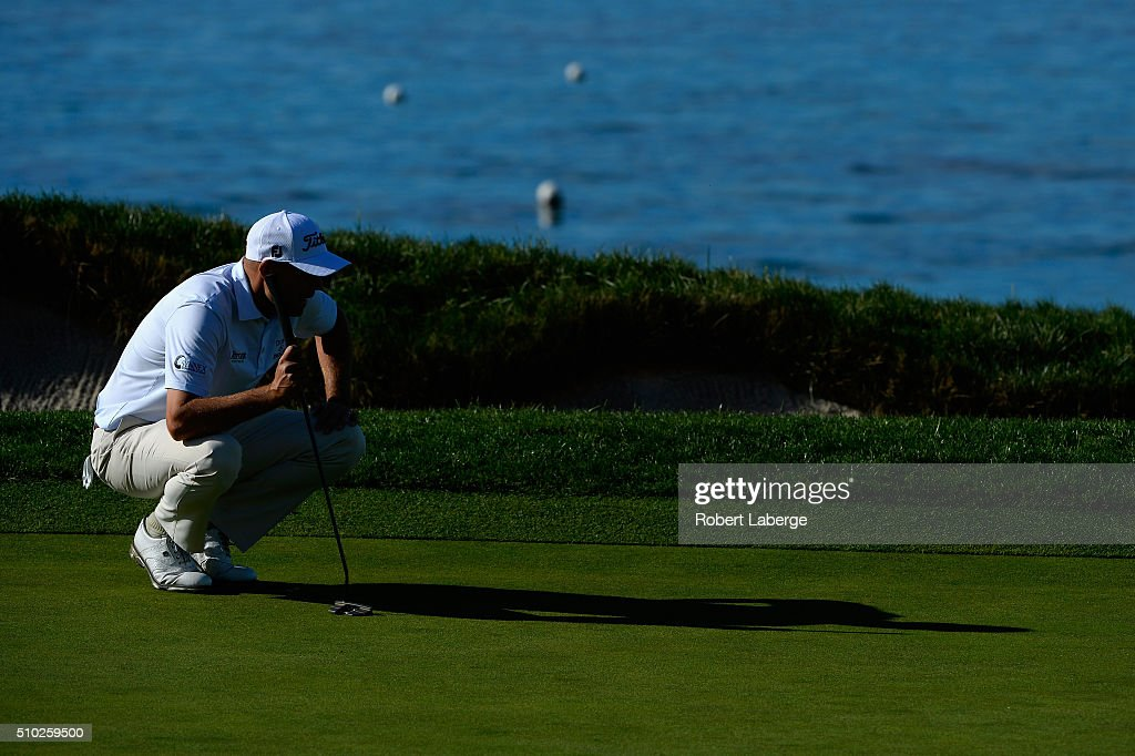 <a gi-track='captionPersonalityLinkClicked' href=/galleries/search?phrase=Bill+Haas&family=editorial&specificpeople=646978 ng-click='$event.stopPropagation()'>Bill Haas</a> lines up a birdie putt on the fourth green during the final round of the AT&T Pebble Beach National Pro-Am at the Pebble Beach Golf Links on February 14, 2016 in Pebble Beach, California.