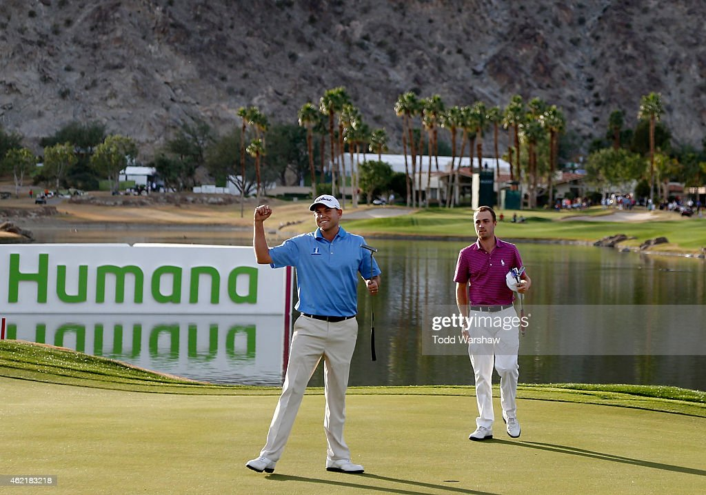 <a gi-track='captionPersonalityLinkClicked' href=/galleries/search?phrase=Bill+Haas&family=editorial&specificpeople=646978 ng-click='$event.stopPropagation()'>Bill Haas</a> of the United States celebrates after winning on the 18th hole during the final round of the Humana Challenge in partnership with The Clinton Foundation on the Arnold Palmer Private Course at PGA West on January 25, 2015 in La Quinta, California.