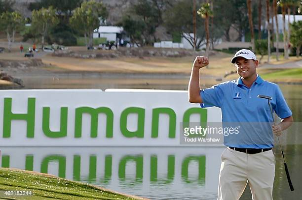 Bill Haas of the United States celebrates after winning on the 18th hole during the final round of the Humana Challenge in partnership with The...