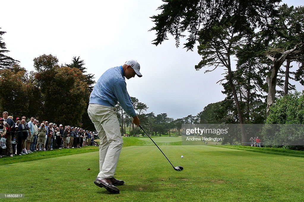Bill Haas of the United States hits a tee shot during a practice round prior to the start of the 112th U.S. Open at The Olympic Club on June 13, 2012 in San Francisco, California.