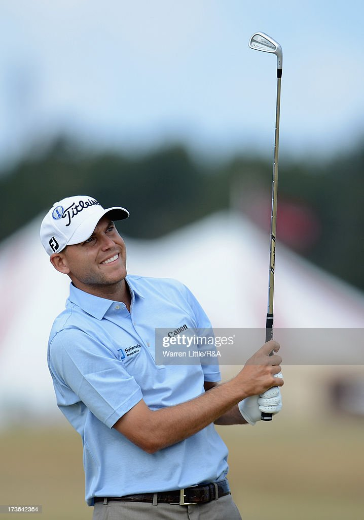 <a gi-track='captionPersonalityLinkClicked' href=/galleries/search?phrase=Bill+Haas&family=editorial&specificpeople=646978 ng-click='$event.stopPropagation()'>Bill Haas</a> of the United States hits his 2nd shot on the 18th hole ahead of the 142nd Open Championship at Muirfield on July 16, 2013 in Gullane, Scotland.