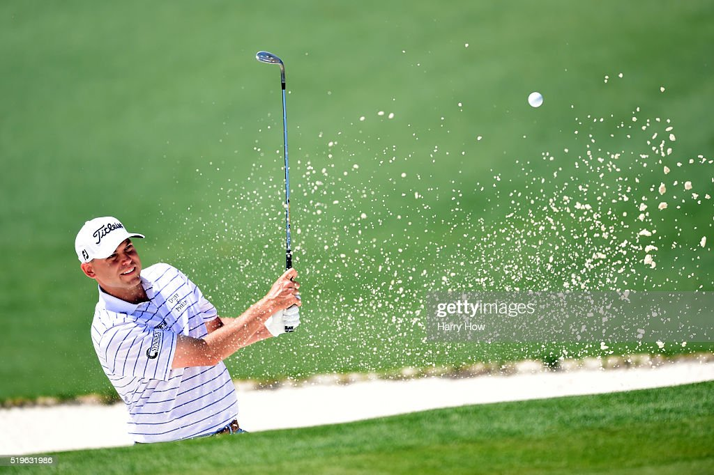 <a gi-track='captionPersonalityLinkClicked' href=/galleries/search?phrase=Bill+Haas&family=editorial&specificpeople=646978 ng-click='$event.stopPropagation()'>Bill Haas</a> of the United States plays a shot from a bunker on the second hole during the first round of the 2016 Masters Tournament at Augusta National Golf Club on April 7, 2016 in Augusta, Georgia.