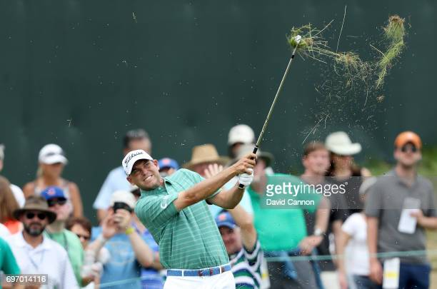 Bill Haas of the United States plays his third shot at the par 5 first hole during the third round of the 117th US Open Championship at Erin Hills on...