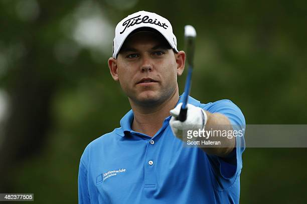 Bill Haas of the United States points on the ninth tee box during round one of the Shell Houston Open at the Golf Club of Houston on April 3 2014 in...