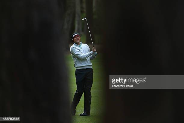 Bill Haas plays a shot on the 12th fareway during the first round of the RBC Heritage at Harbour Town Golf Links on April 17 2014 in Hilton Head...