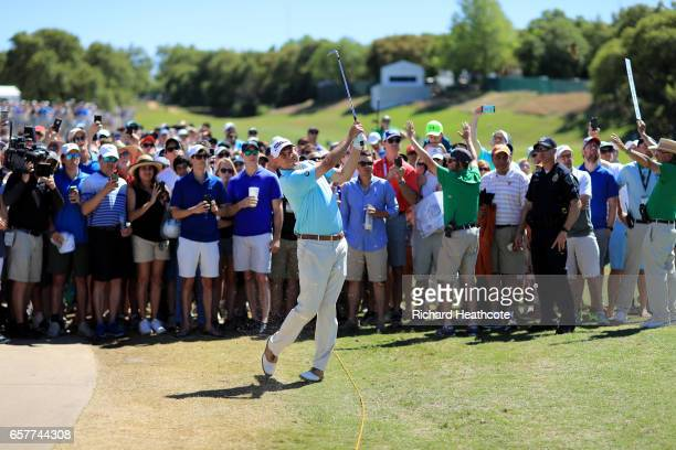 Bill Haas plays a shot on the 12th hole of his match during round five of the World Golf ChampionshipsDell Technologies Match Play at the Austin...
