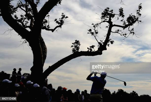Bill Haas plays his shot from the third tee during the first round at the Genesis Open at Riviera Country Club on February 16 2017 in Pacific...