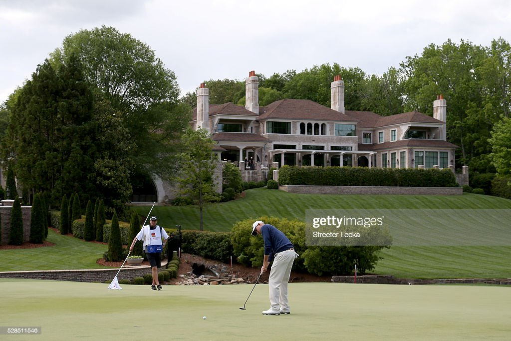 Bill Haas putts the ball on the seventh hole during the first round of the 2016 Wells Fargo Championship at Quail Hollow Club on May 5, 2016 in Charlotte, North Carolina.