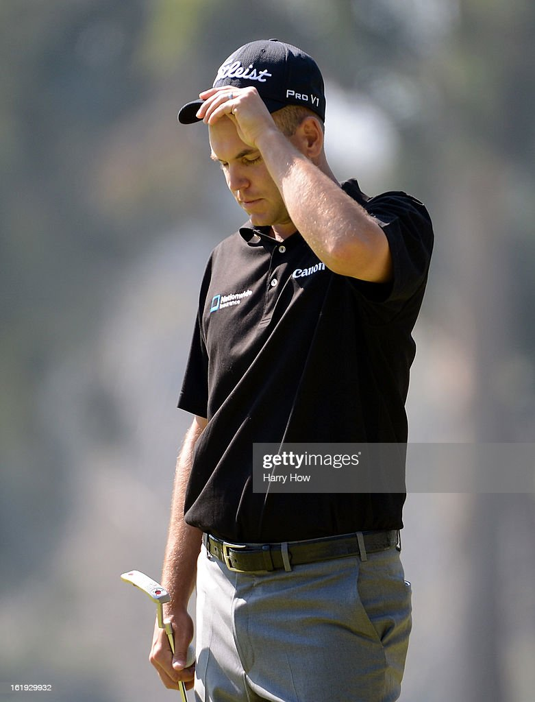 Bill Haas reacts after a bogie on the eighth green during the final round of the Northern Trust Open at the Riviera Country Club on February 17, 2013 in Pacific Palisades, California.