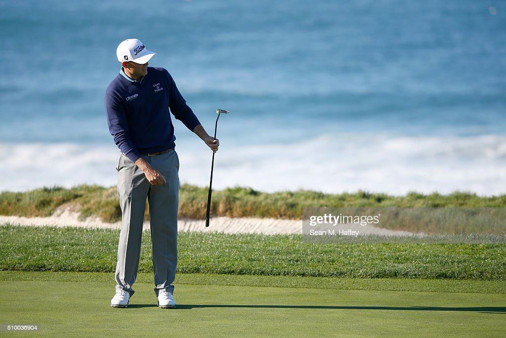 Bill Haas reacts to a putt on the 10th green during round three of the AT&T Pebble Beach National Pro-Am at the Pebble Beach Golf Links on February 13, 2016 in Pebble Beach, California.