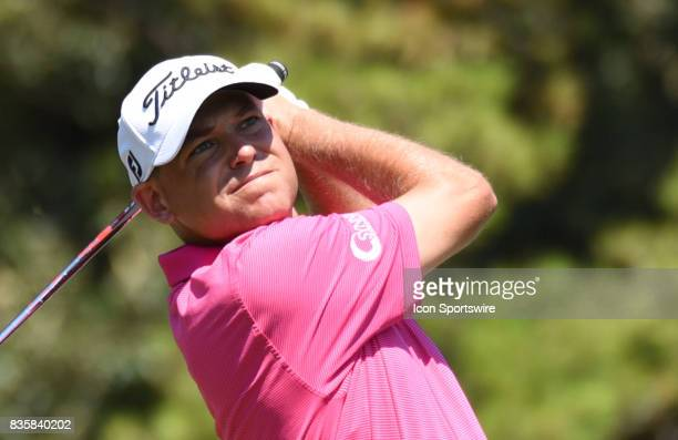 Bill Haas tees off on the 16th hole during the third round of the Wyndham Championship on August 19 2017 at Sedgefield Country Club in Greensboro NC