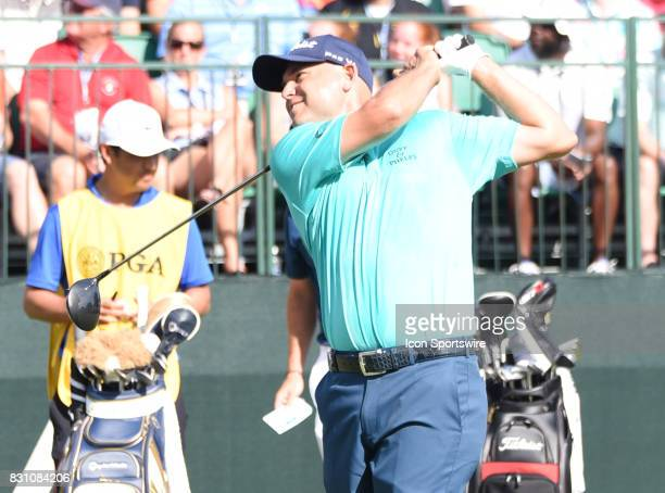 Bill Haas tees off on the 1st hole during the final round of the PGA Championship on August 13 2017 at Quail Hollow Golf Club in Charlotte NC